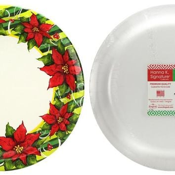 "Poinsettia Wreath - 10.25"" Paper Plates - 8-Packs - 36 Units"