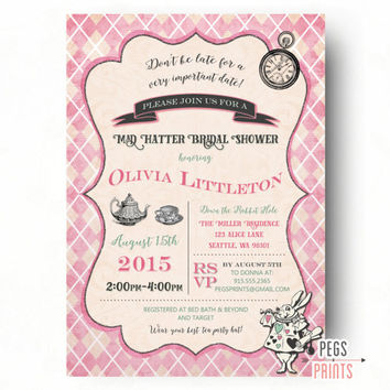 Best adventure party invitations products on wanelo mad hatter bridal shower invitation printable mad hatter tea party invitation alices adventures filmwisefo