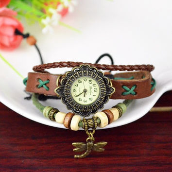 Genuine leather Bracelet Watch Dress Watches leaf Pendant Vintage