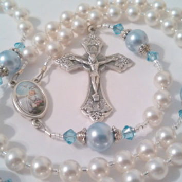 Personalized White and Blue Swarovski Pearl Rosary