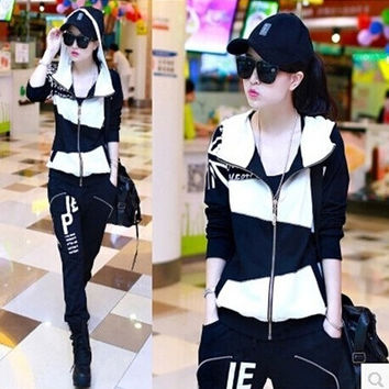 2015 new spring summer women's high quality splicing track suits two piece sets slim fit hoodie and pant zipper Tracksuits & Sweatsuits sta12 = 1931873284