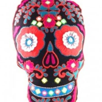 This is a great piece for your home furnishing decor, featuring pretty large size and comfortable beaded & embroidered pillow, filled with felt inside, neutral color with multi color sugar skull embroidered detailing at front , and finishing with solid ora