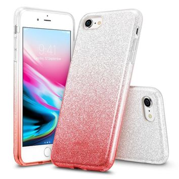 "iPhone 8 Case, iPhone 7 Case, ESR Glitter Sparkle Bling Case [Three Layer] [Supports Wireless Charging] for Apple 4.7"" iPhone 8 /iPhone 7(Ombre Red)"