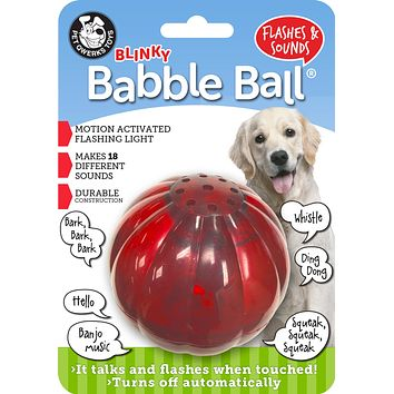 Blinky Babble Ball Interactive Dog Toy, Flashes and Talks when Touched!