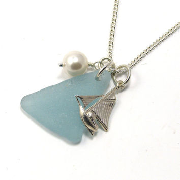 Powder Blue Sea Glass, Sterling Silver Boat, Yacht and Swarovski Pearl Necklace, Beach Necklace, Sea Glass Necklace