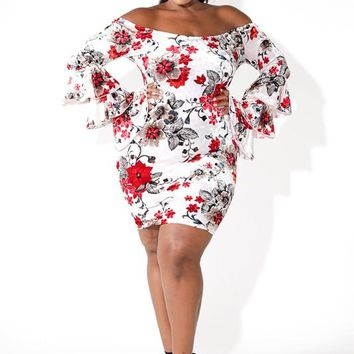 Printed Velvet Ruffled Sleeve Dress Plus Size