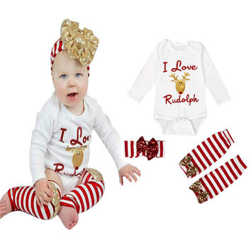 2016 Fashion Baby Boys Girls Newborn Clothing Set Moose Long Sleeve Clothes+Bows Headband+Leggings 3Pcs Set Christmas Outfits