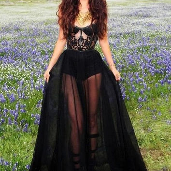 Sexy New Black Evening Dresses  Strapless Appliques Lace Charming Sheer Illusion Prom Celebrity Dresses Z088