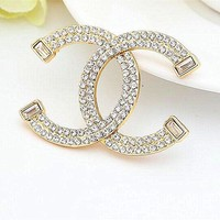 8DESS Chanel Women Fashion Diamonds Brooch Jewelry