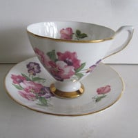 Sweet Pea Purple and Pink Tea Cups Crownford Fine Bone China Tea Cups English Tea Cup Saucer Set England Tea Cups English