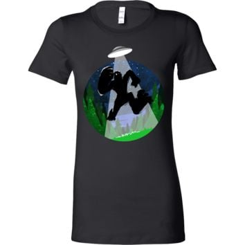 Bigfoot Sasquatch Silhouette Funny Abduction Bella Shirt