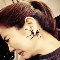 Punk And Funny Black Spider Stud Earrings