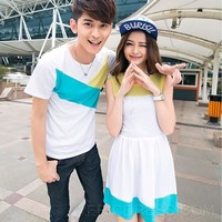 $ 12.99 Cool Patchwork T-shirt Dress Couple Outfits