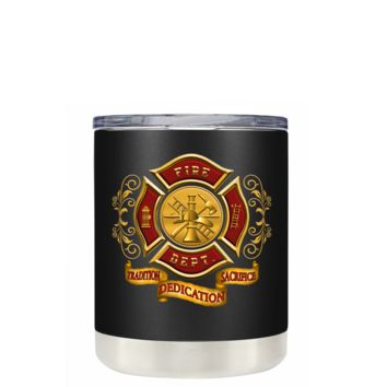 Red Gold Fire Department Badge on Black Matte 10 oz Lowball Tumbler