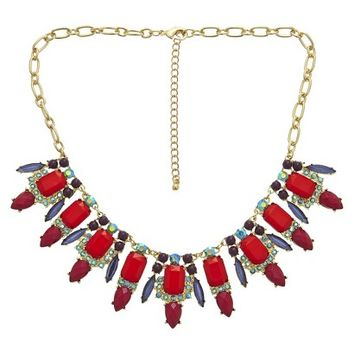 "Women's Statement Necklace with Stones - Multicolor (16.5"")"