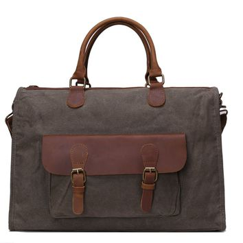 BLUESEBE WAXED CANVAS AND LEATHER SATCHEL/MESSENGER BAG YD2167-AG