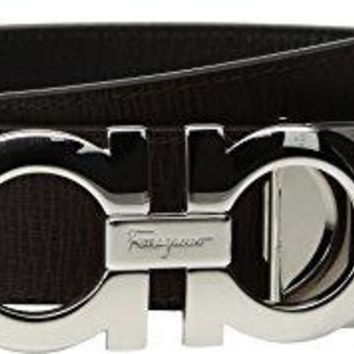 Salvatore Ferragamo  Men's Adjustable & Reversible Gancini Belt - 675542 Nero/Fondente 44