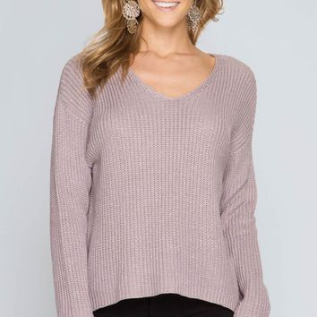 V-Neckline Metallic Yarn Sweater Top