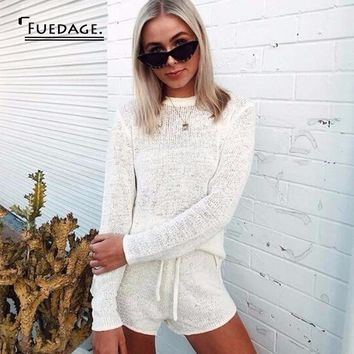 Fuedage Knitting White Sweater Sexy 2 Piece Set Women Solid Bandage Long Sleeve Top And Short Women Set Two Piece Set Outfits