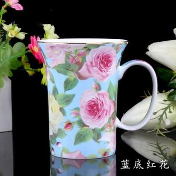 ufengke®Creative Cute European England Royal Luxury Bone China Tea Cup Ceramic Coffee Cup Mugs-Green Leaf White Camellia Flower