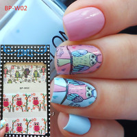 BORN PRETTY BP-W02 Cute Owl Nail Art Water Decals Transfer Stickers W02 #20593