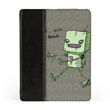 Zombie Robot Premium Faux PU Leather Case Flip Case for Apple iPad 2 / 3 and iPad 4 by Gus Fink