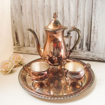 Vintage Silver Plate Leonard Tea Set, Ornate Silver Teapot, Cream and Sugar Set with Tray, Shabby Chic, Decorative Silver Plate Tea Set