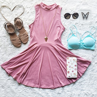 A Flouncy Fit and Flare in Dusty Rose