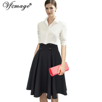 Vfemage Women Elegant Retro Chic High Waist Button Work Business Casual Party Knee Length A-line Fit and Flare Skater Skirt 7948