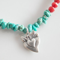 Personalized Turquoise Charm Necklace – Natural Turquoise and Coral - Personalized Necklace - Sterling Silver Sacred Heart Charm - 18 inches