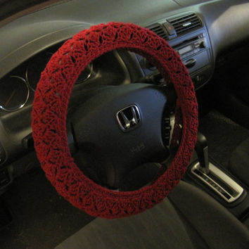 Crochet Steering Wheel Cover, Wheel Cozy - burgundy (CSWC 2FFF)