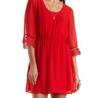 Crochet-Cuffed Chiffon Dress by Charlotte Russe