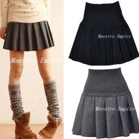 Prep Lolita Black Gray Stretch Waist Ladies Wool Pleated Mini Skirt S - M