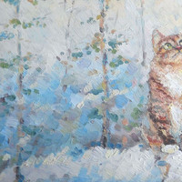 """Cat picture, Gift, Decor,""""Cat and first snow"""", Original Oil Painting, Impasto, Canvas, Hardboard,  Made to Order, modern, child room decor"""