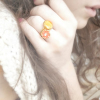 Yellow and pink flower ring, real rose petal, pink flower ring, woodland flower jewelry