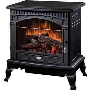 "Dimplex 25"" Traditional Electric Stove with Bevelled Glass Detailing, Matte Black - Walmart.com"