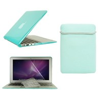 "TopCase Macbook Air 11"" (A1370 and A1465) 4 in 1 Bundle - Crystal Hard Case Cover + Matching Color Soft Sleeve Bag + Transparent TPU Keyboard Cover + LCD HD Clear Screen Protector With TopCase Mouse Pad (ROBIN EGG BLUE)"