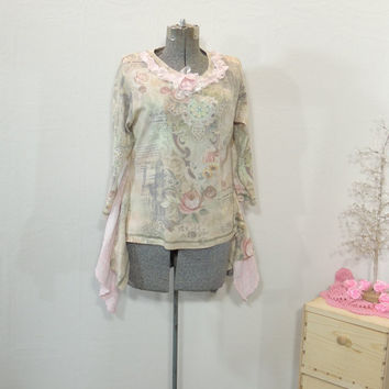 Xl  Pink Floral Roses Upcycled Recycled Tunic / Romantic Boho Chic Bohemian / Rustic shabby Festival Tunic / Shark Hem Tunic By Tattered Fx