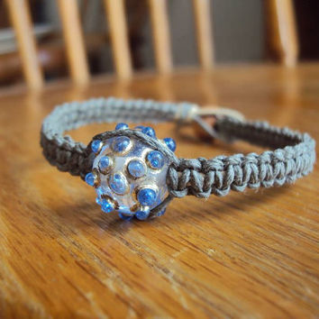 CLEARANCE Hemp Bracelet with Lampwork Bead Silver Spike Bracelet Grey Hemp Square Knot Macrame