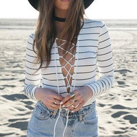 Fashion Deep V Long-Sleeved Stripe Rompers jumpsuit