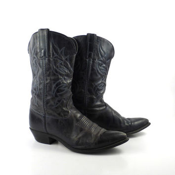 Cowboy Boots Vintage Dark Charcoal Black Gray Leather Wrangler Women's size 8