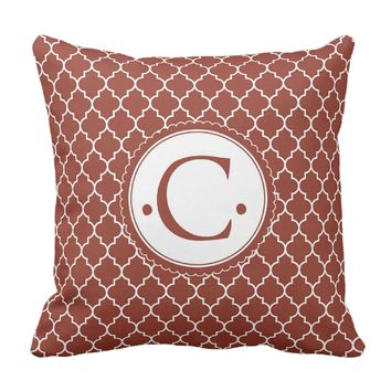 Red Morrocaan Initial Throw Pillow