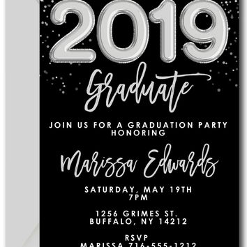 Silver Balloons Graduation Invitations
