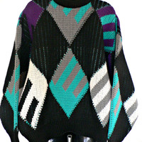 Authentic COOGI Sweater - 100% Pure Wool - Crewneck Pullover - Black, White, Purple, Teal Argyle - Made in Australia