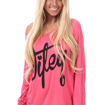 Coral Wifey Shirt with Peek a Boo Back