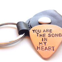 copper guitar pick keychain -  mens key chain - romantic gift heart love boyfriend husband