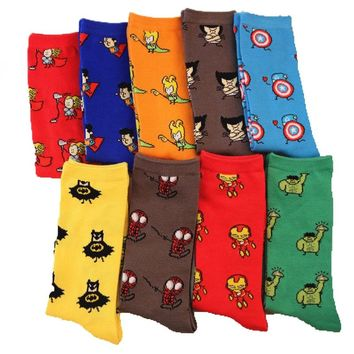 Marvel Comics Avenger Captain America Cartoon Socks Batman Superman Iron Man Hulk socks Men Future Cotton Men Funny Socks