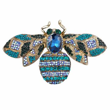 Bella Fashion Luxury 3 Colors Queen Bee Brooch Pin Cubic Zircon Animal Insect Brooch For Women Party Wearing Jewelry Gift