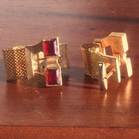 Vintage Cuff Link Men's Suit And Tie Accessory Mid Century Gold Tone Red Accent Wedding
