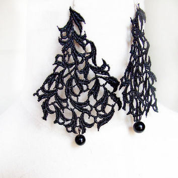 SALE gothic black lace beaded earrings venise vintage victorian plant handcrafted Fabric jewelry woman wedding party